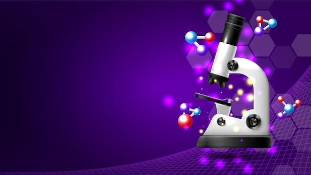 Laboratorio con microscopio realistico Vettore gratuito