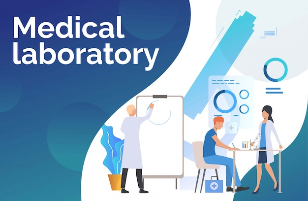 Laboratory workers drawing graphs and working with tubes Free Vector