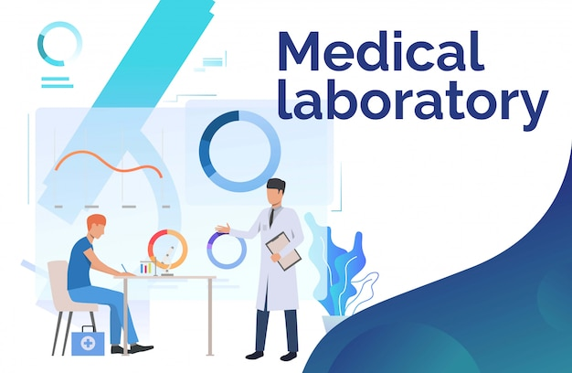 Laboratory workers working with medical data Free Vector