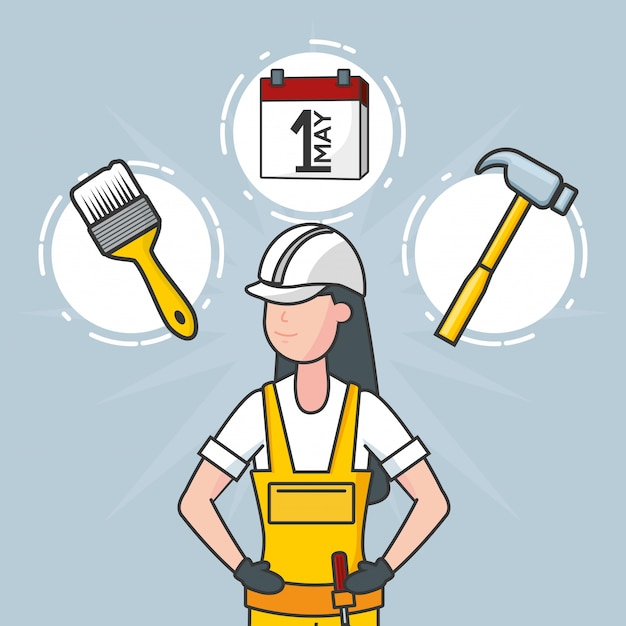 Laborer with construction objects, illustration Free Vector