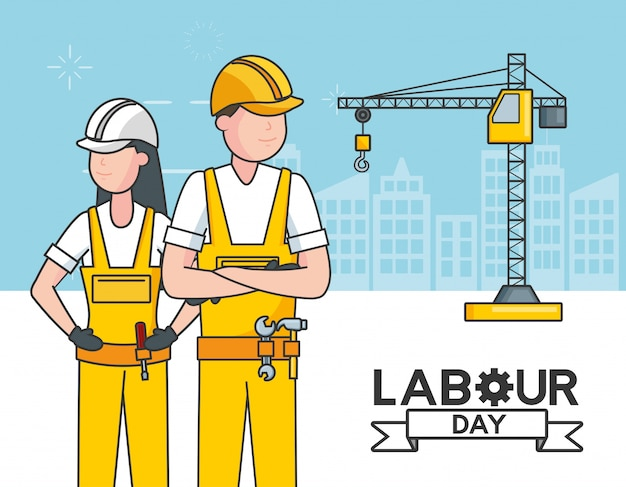 Laborers with a crane, buildings, illustration Free Vector