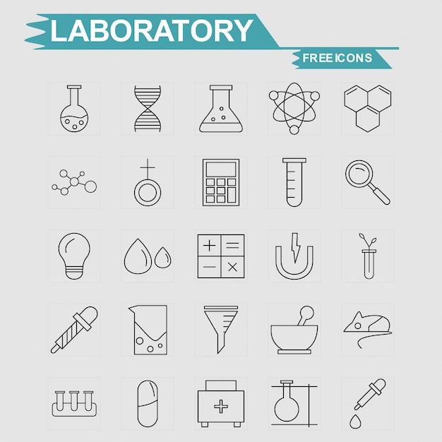 Labortory icons set Free Vector