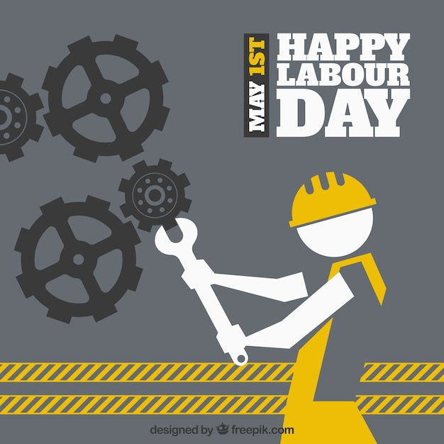 Labour day background with gears and worker Free Vector