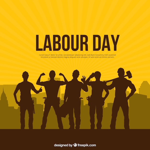 Labour day background with silhouettes people Free Vector