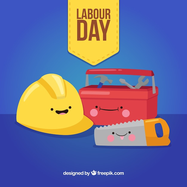 Labour day background with toolbox in flat style Free Vector