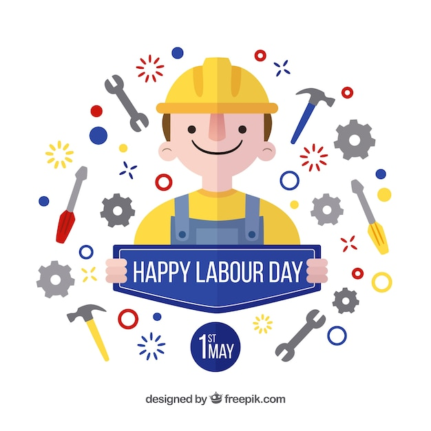 Labour Day Background With Tools And Nice Character Vector