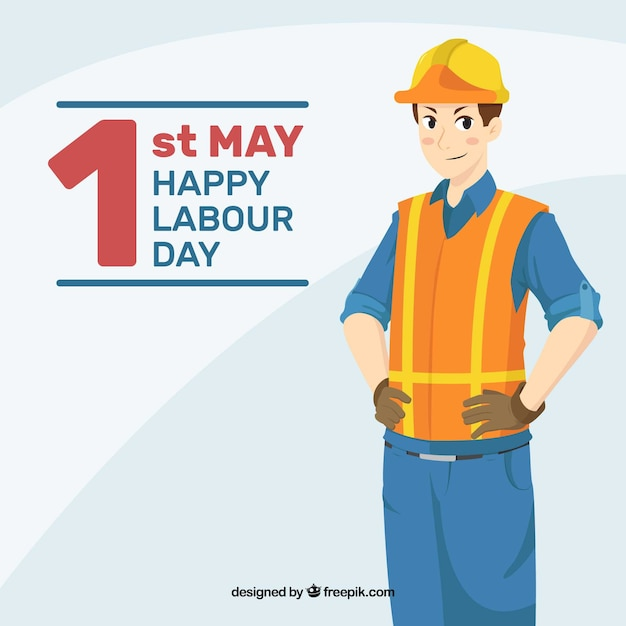 Labour day background with worker in hand drawn style Free Vector