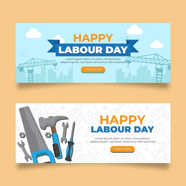 Labour day banners flat design Free Vector