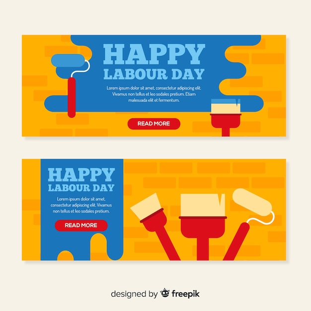 Labour day banners Free Vector
