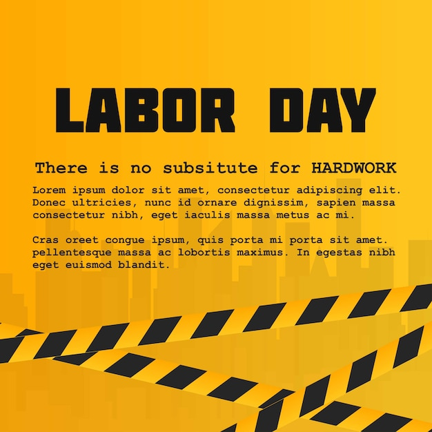 Labour day card with creative design and yellow background Free Vector