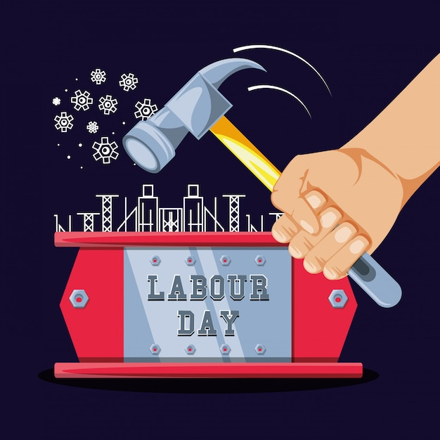 Labour day celebration and hand with hammer Premium Vector