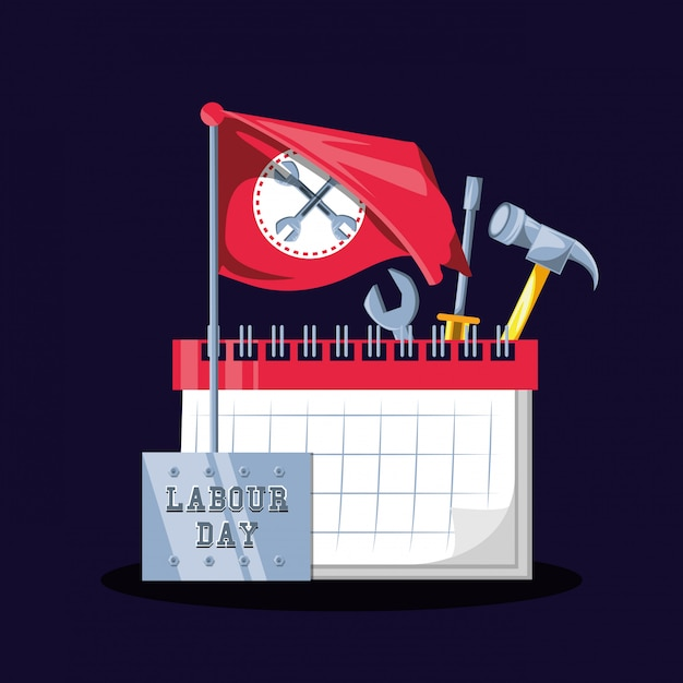 Labour day celebration with calendar and tools Premium Vector