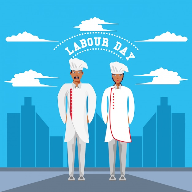 Labour day celebration with chef Premium Vector