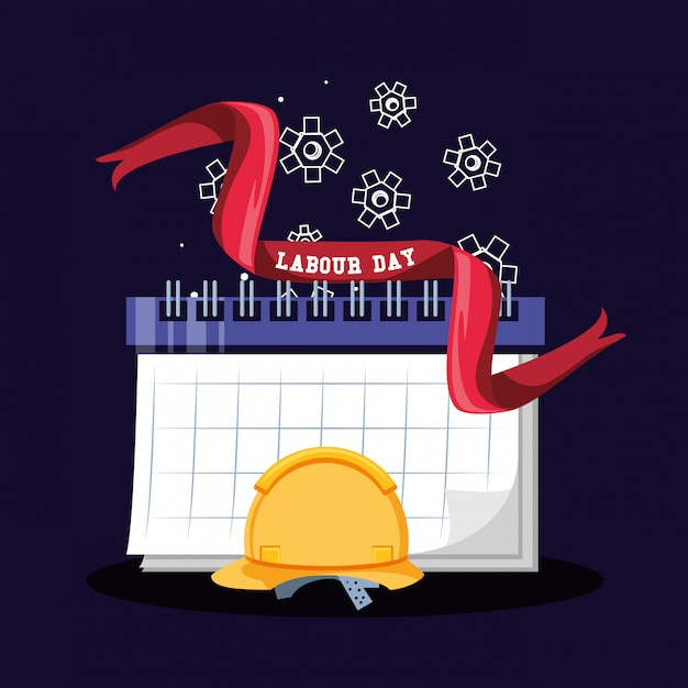 Labour day celebration with security helmet and calendar Premium Vector