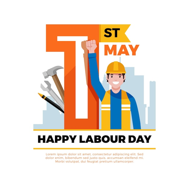 Labour day in flat design Free Vector