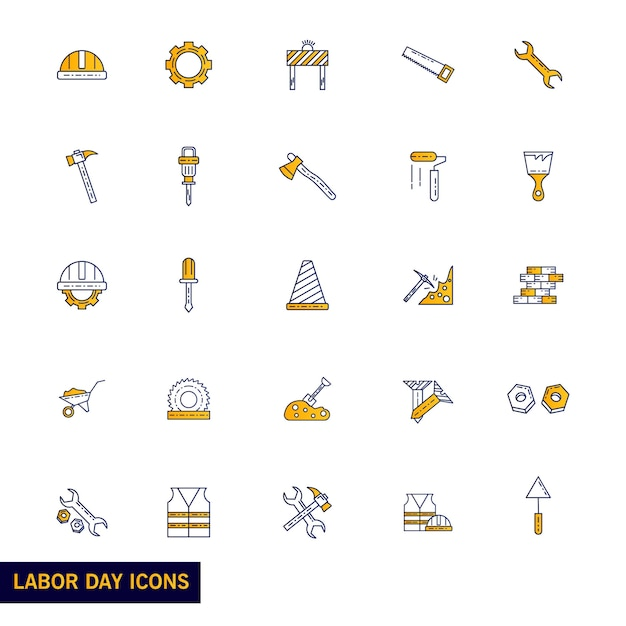 Labour Day icon set Free Vector
