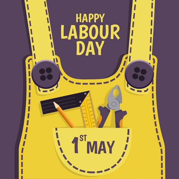 Labour day illustration. work clothes with tools. Premium Vector
