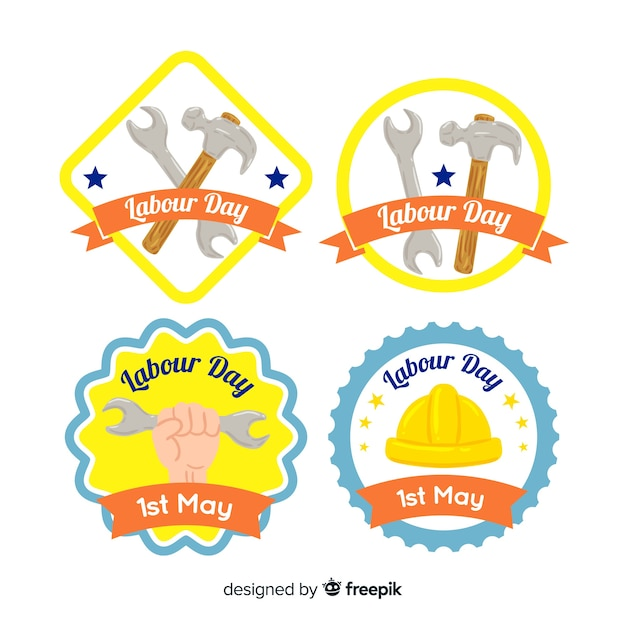 Labour day label collection Free Vector