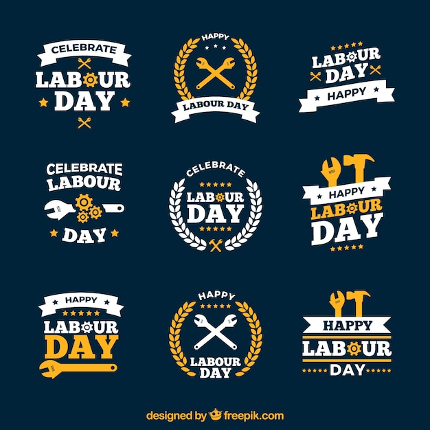 Labour day logos Free Vector