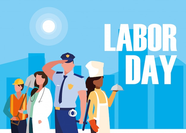 Labour day with group professionals and cityscape Premium Vector