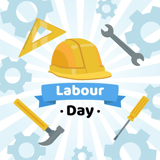 Labour day with hard hat and tools Free Vector