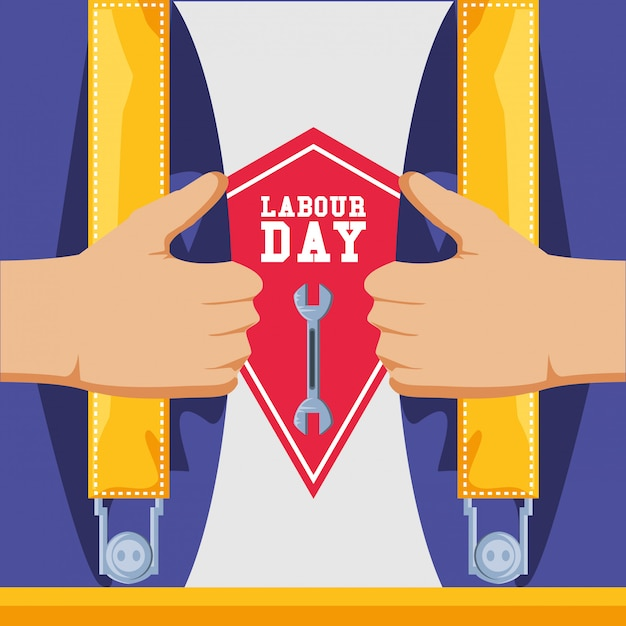 Labour day with overalls and tool Premium Vector