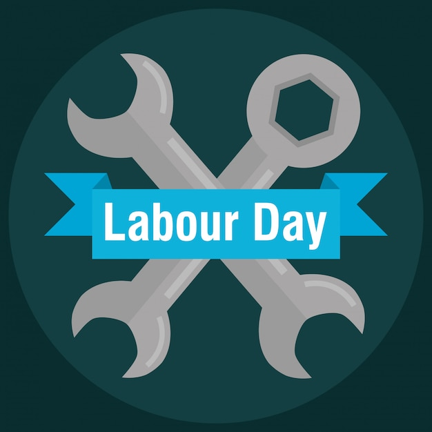 Labour day. wrench keys tools crossed Premium Vector