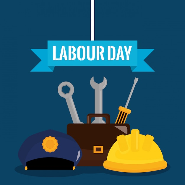 Labour day. wrench keys tools and screwdriver with portfolio Premium Vector