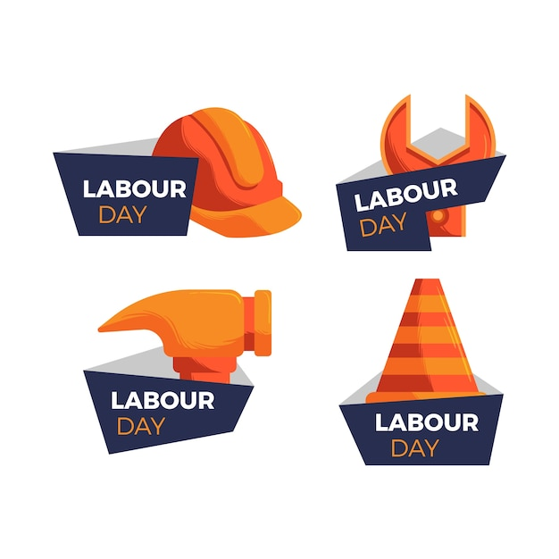 Labour work tools hand drawn labels Free Vector