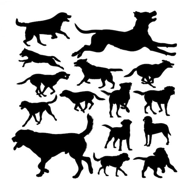 Labrador dog animal silhouettes Premium Vector