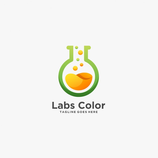 Labs color chemical research illustration  logo. Premium Vector