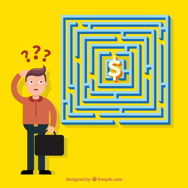 Labyrinth business concept vector flat design Free Vector