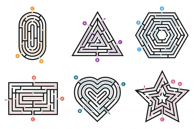 Labyrinth conundrum. searching way, many ways directions maze and labyrinths child game isolated set Premium Vector