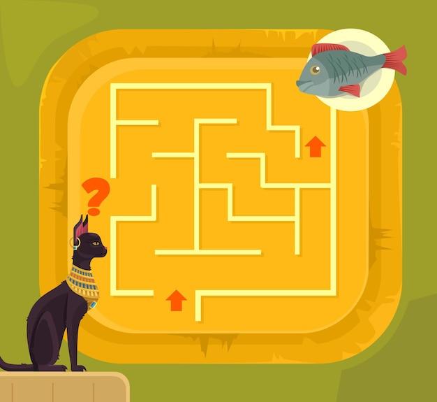 Лабиринт игра для детей с иллюстрацией шаржа кота египта Premium векторы