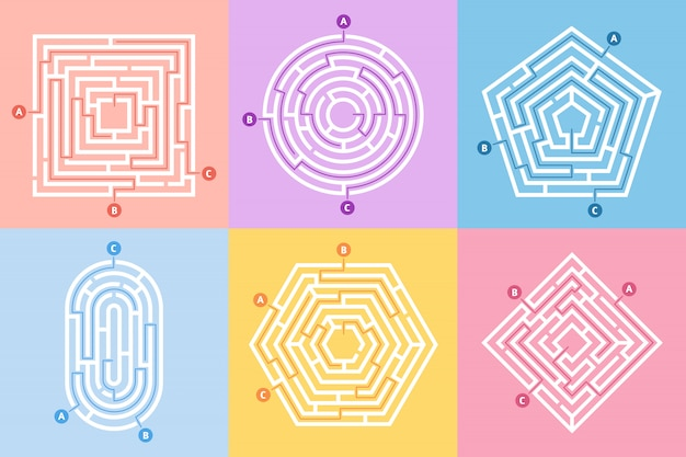 Labyrinth game, maze conundrum, labyrinth way rebus and many entrance riddle  concept  set Premium Vector