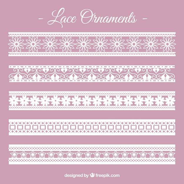 Lace border ornament collection Premium Vector
