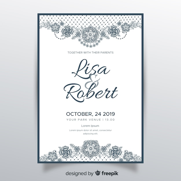 Lace Ornaments Wedding Invitation Template Vector