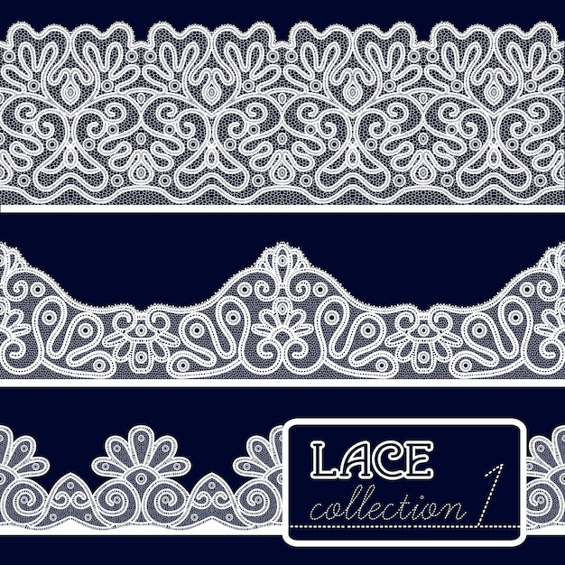 Lace patterns set Free Vector