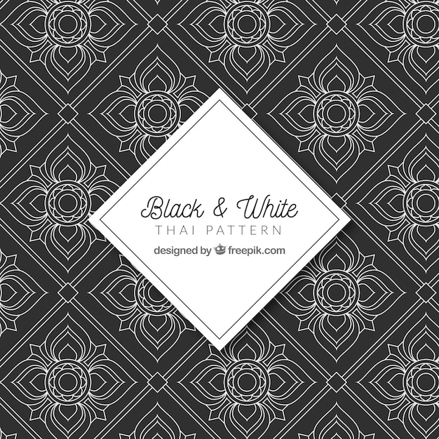 Lack and white thai pattern with elegant design Free Vector
