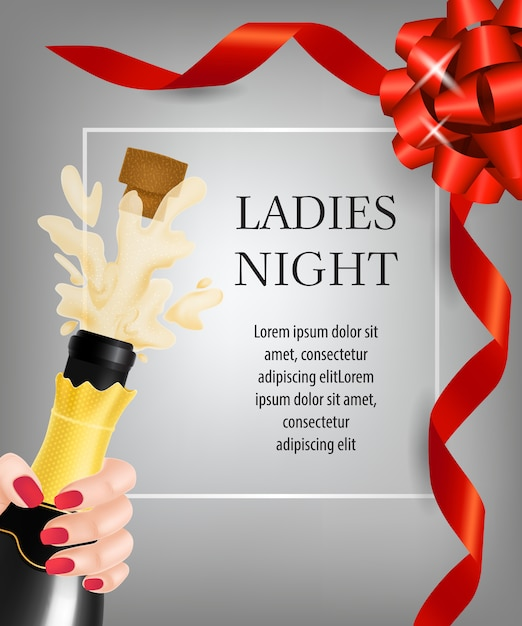 Ladies night lettering and champagne bottle explosion Free Vector