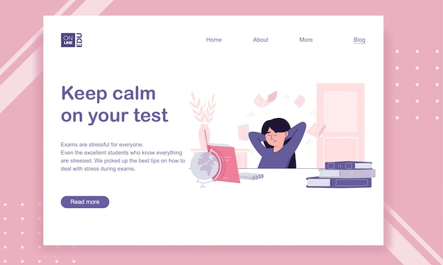 Lading page template for educational website with a student girl Premium Vector