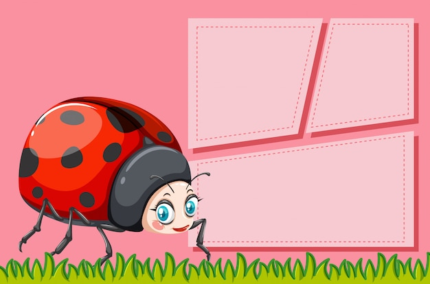 Lady bug on note template Free Vector