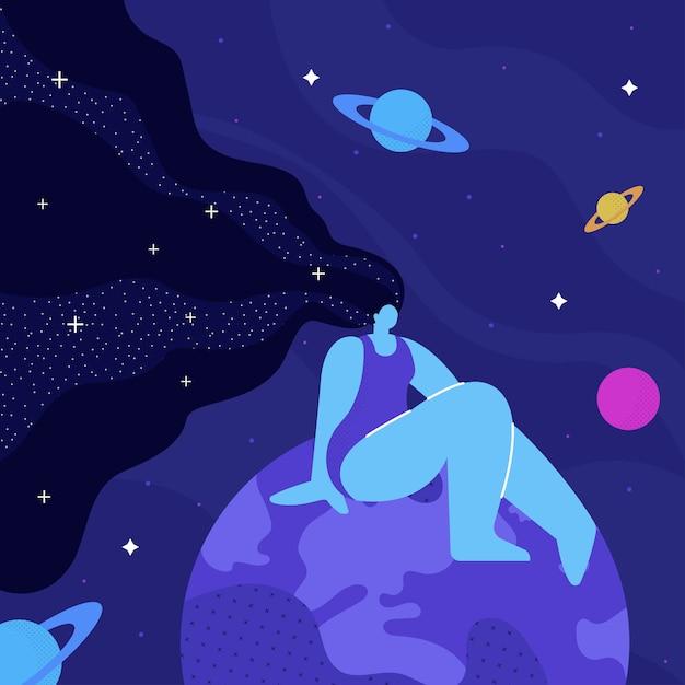 Lady cosmos, meditation flat  illustration Premium Vector