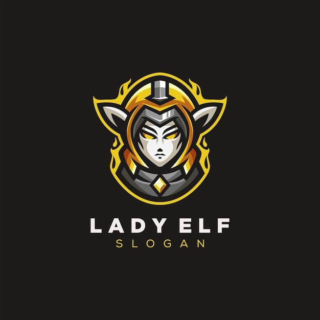 Lady elf gaming logo Premium Vector