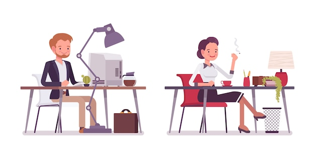Lady and gentleman working at the desk Premium Vector