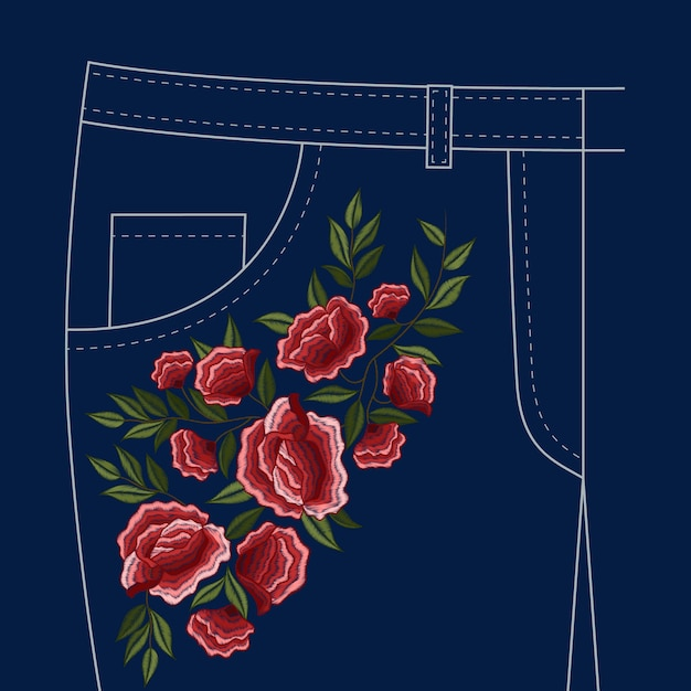 Lady jeans pants Free Vector