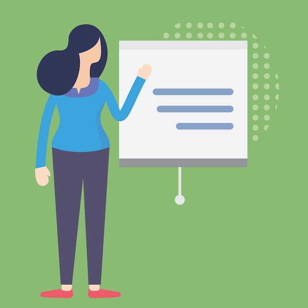 lady presenting business plan businesswoman standing in front of presentation screen premium vector