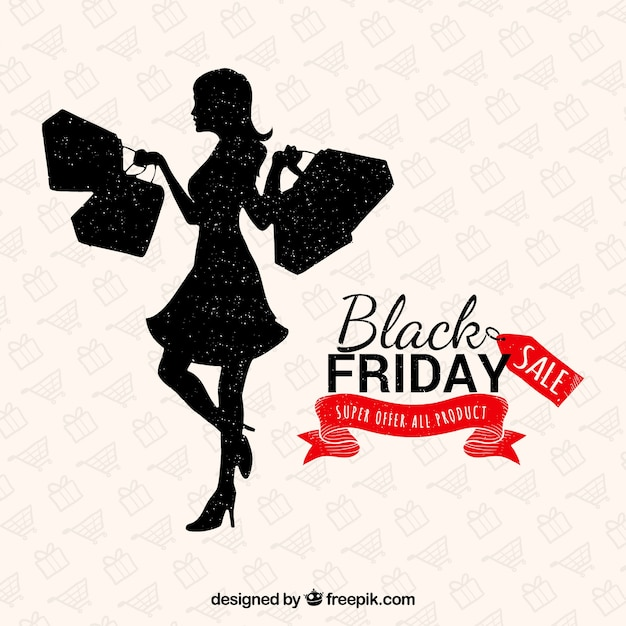 Lady shopping on a black friday background Free Vector