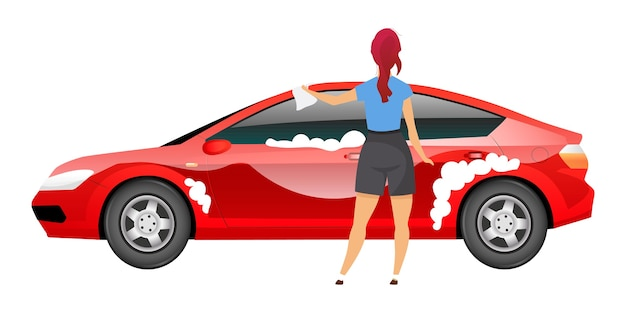 Lady washing car flat color faceless character. young woman polishing sedan with rag isolated cartoon illustration for web graphic design and animation. girl in casual clothes cleaning auto Premium Vector