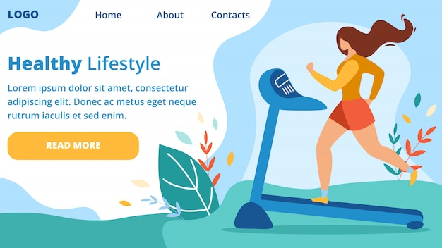Lady working out on treadmill, physical exercise Premium Vector